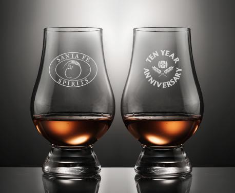 Engraved Santa Fe Spirits Crystal Official Whiskey Glass