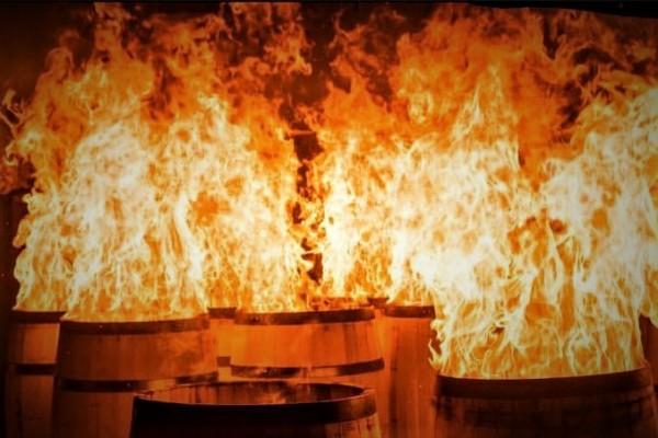 oak burning barrels at Kelvin Cooperage