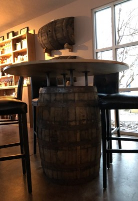 Barrel table at Santa Fe Spirits