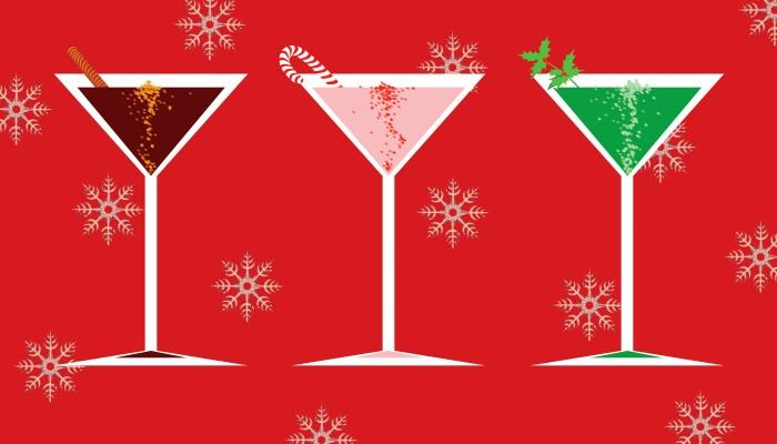 Holiday martini glasses